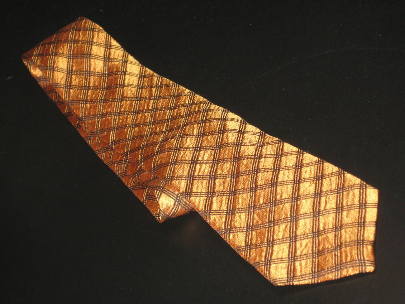 Guy Laroche Diffusion Neck Tie Orangish Golden Browns Criss Cross Stripes Silk Guy Laroche Diffusion