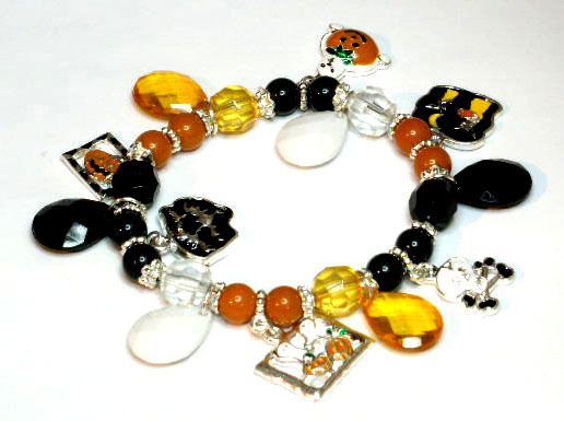 Halloween Charms and Beads Stretch Bracelet BR42 Bonanza