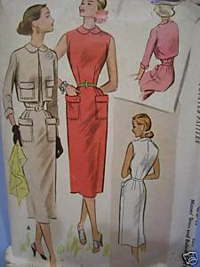 Straight Dress w/Bolero 1950's Pattern Bust 30 Bonanza