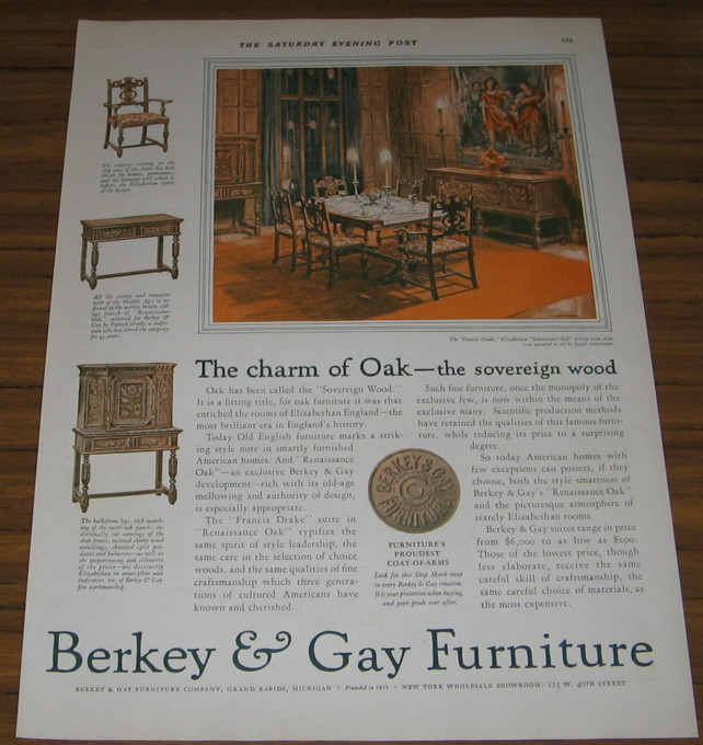 1927 AD~BERKEY & GAY FURNITURE~DINING~GRAND RAPIDS,MI