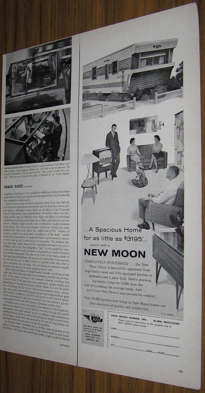 1959 Ad New Moon Mobile Homes Alma Michigan Spacious 1950 59