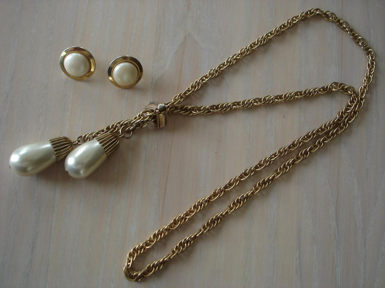 Vintage Gldtn Cap Lg Simulated Pearl Pendant Necklace, Earri Bonanza
