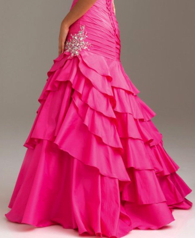 Image 4 of Sexy Strapless Fuchsia Pink Mermaid Prom Pageant Evening Gown Dress, Night Moves