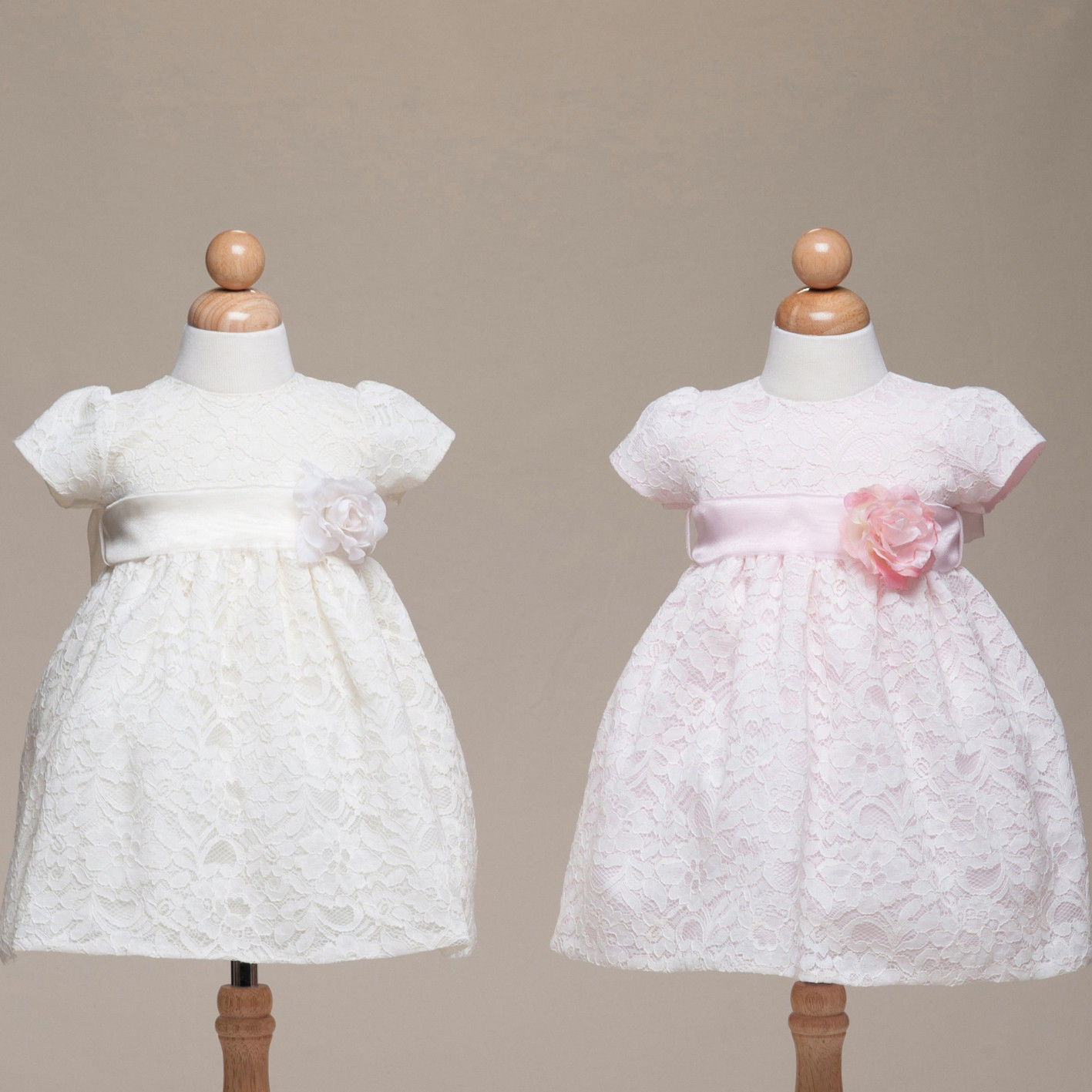 Image 1 of Stunning Ivory Lace Flower Girl Pageant Dress w/Rose Flower Crayon Kids USA - Iv
