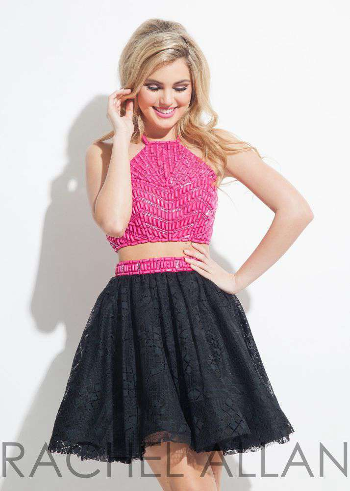 Image 1 of Beaded Lace 2-Pc Fuchsia Black Sexy Rachel Allan 4027 Short Prom Party Dress - 6