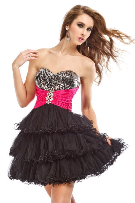 Image 1 of Sexy Strapless Party Time Short Prom Black Dress w/Leopard Bodice, Fuchsia Wrap