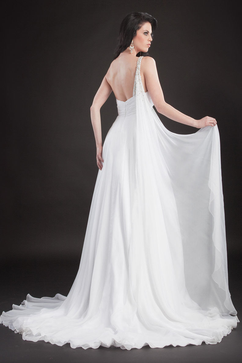 Image 1 of Stunning Sexy Silk Beaded One Strap Pageant Prom Gown, Prima Donna 5581 - White