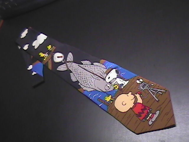 Peanuts Silk Neck Tie World's Greatest Fisherman! Snoopy Catch of Day Woodstock Peanuts