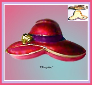 PERFECT SOCIETY RED HAT PILL BOX, PURPLE AND RED ENAMEL