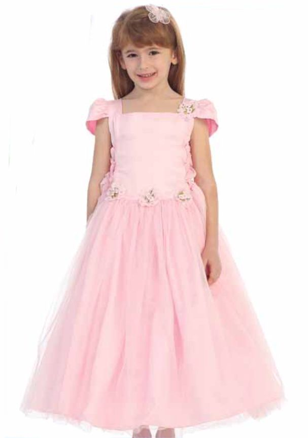 Image 3 of Chic Baby Blush Pink Tea Length Pageant Party Holiday Dress, 2, 4, 6 USA - Blush