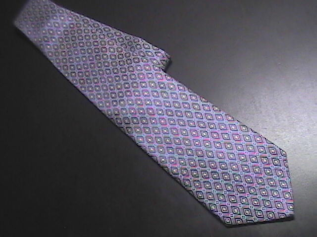 Jos A Bank Neck Tie Made in Italy Silk Diamonds of Blues with Golds and Reds Jos. A. Bank