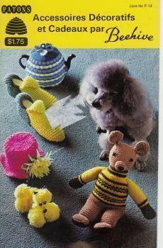 Knit Crochet French Patterns Dog Coat Tea Cosy Socks Slippers Toys Patons