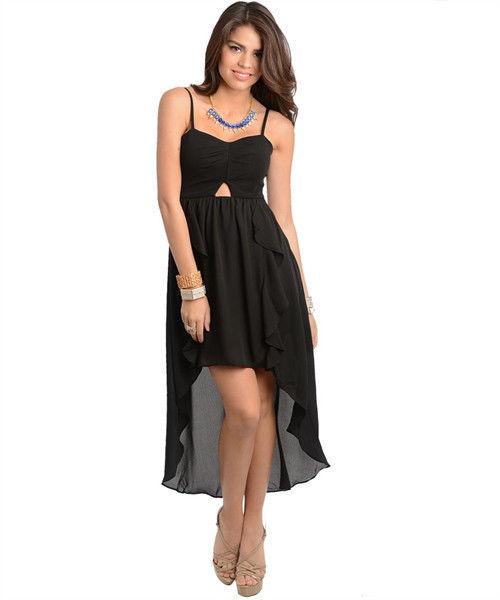 Image 4 of Sexy Hi-Lo Party Ruffled Maxi Cocktail Club Cruise Dress, Fuchsia or Black - Pin