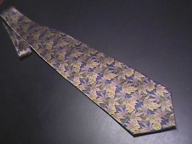 Stonehenge Neck Tie Autumn Brown Leaves on Dark Blue Background Greens Silk Stonehenge