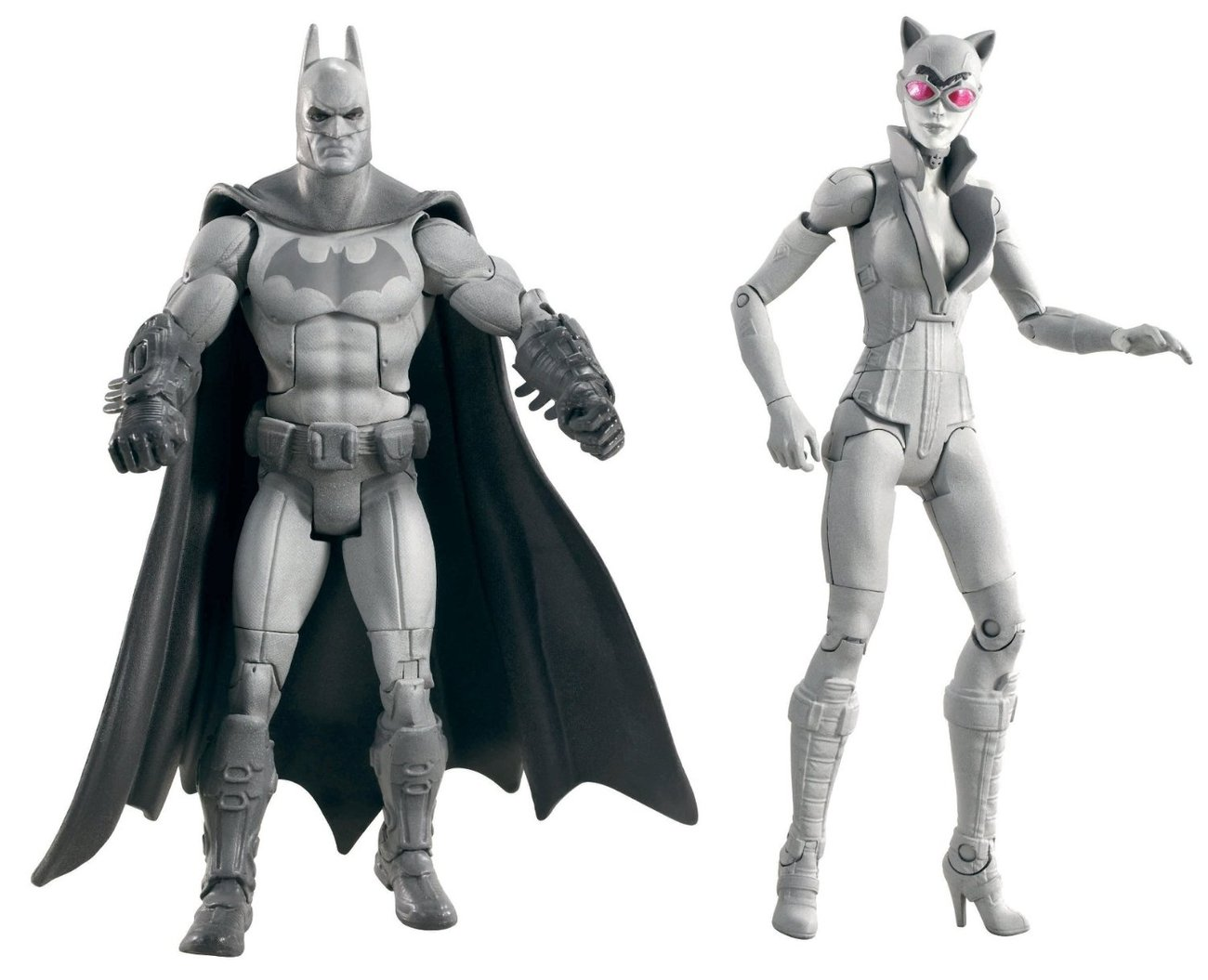'.Batman and Catwoman grayscale.'