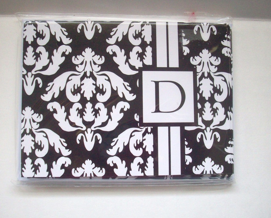 Blank Notecards Black and White Monogram Letter D with Envelopes New Set of 8