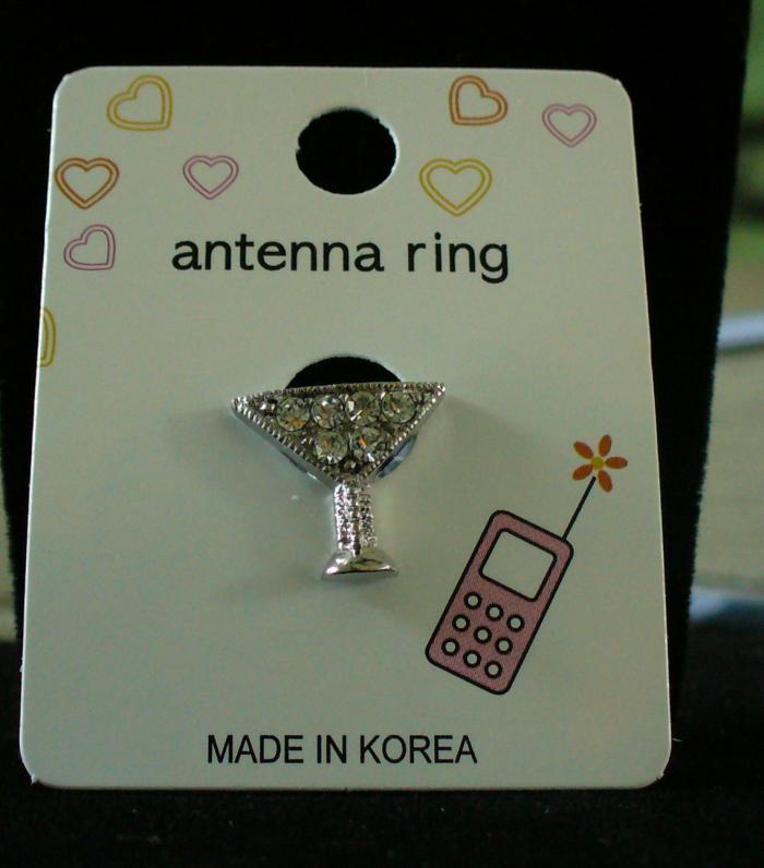 MARTINI GLASS Cell Phone Antenna Ring Bonanza