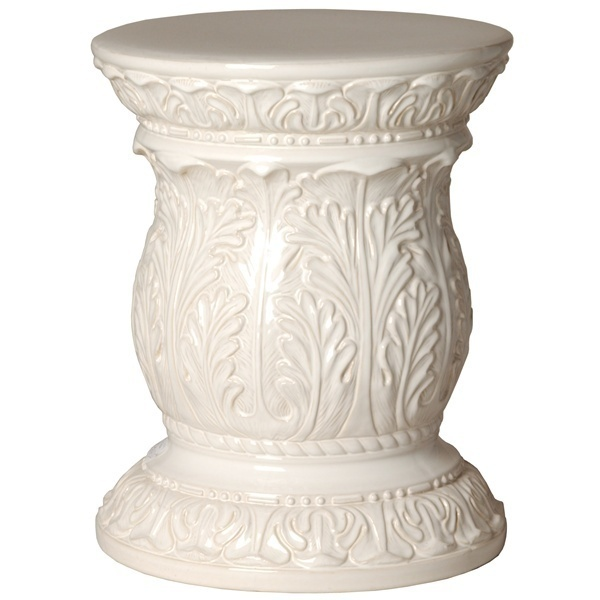 WHITE ACANTHUS CERAMIC GARDEN STOOL, Glossy, End Side Table, Indoor or Outdoor!