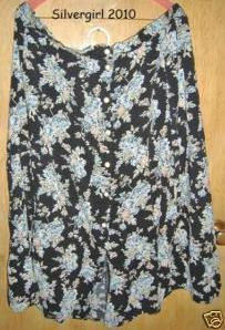 100% Rayon Button Front Full Skirt Black Floral Bonanza