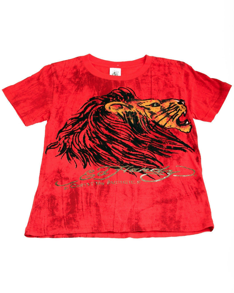 Image 0 of Ed Hardy Boys Bright Red Cotton Marble Tee Shirt - Lion Motif, Short Sleeve