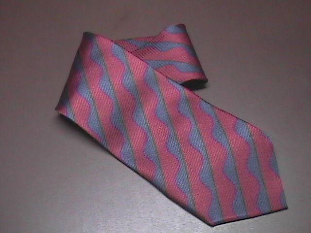 Bugatchi Uomo Silk Neck Tie Stripes of Blues and Red Hand Made Bugatchi Uomo