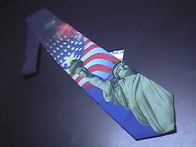Ralph Marlin Neck Tie Liberty Collage Completely Unused with Retail Paper Tag Ralph Marlin