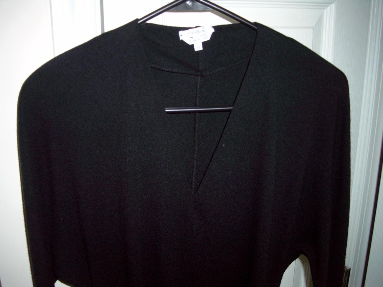 MAX MARA CLASSIC V-NECK BLACK WOOL FORMAL DRESS SIZE 38 Max Mara