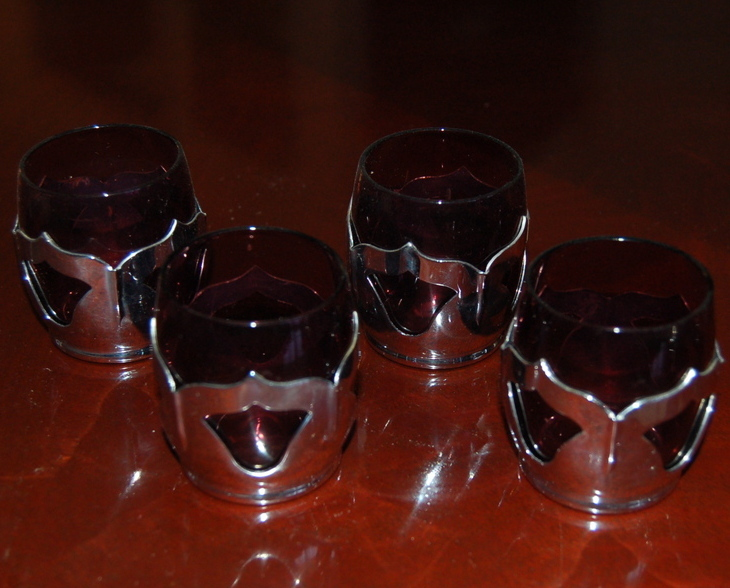 Farber Bros Krome Kraft Cambridge Shot Glasses Amethyst Set