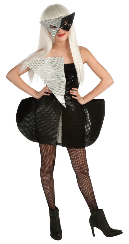 Image 1 of Licensed Lady Gaga Girl/Tween Black/Silver Sequin Polyester Costume//Mask Rubies