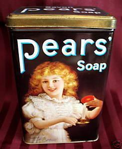 Vintage Souvenir PEARS SOAP Tin Can VICTORIAN ERA GIRL With CANDLE Collector  Bonanza