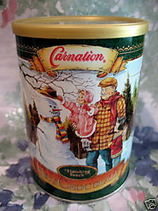 Vintage CARNATION HOT CHOCOLATE TIN Can SNOWMAN WINTER Souvenir Collector  Bonanza