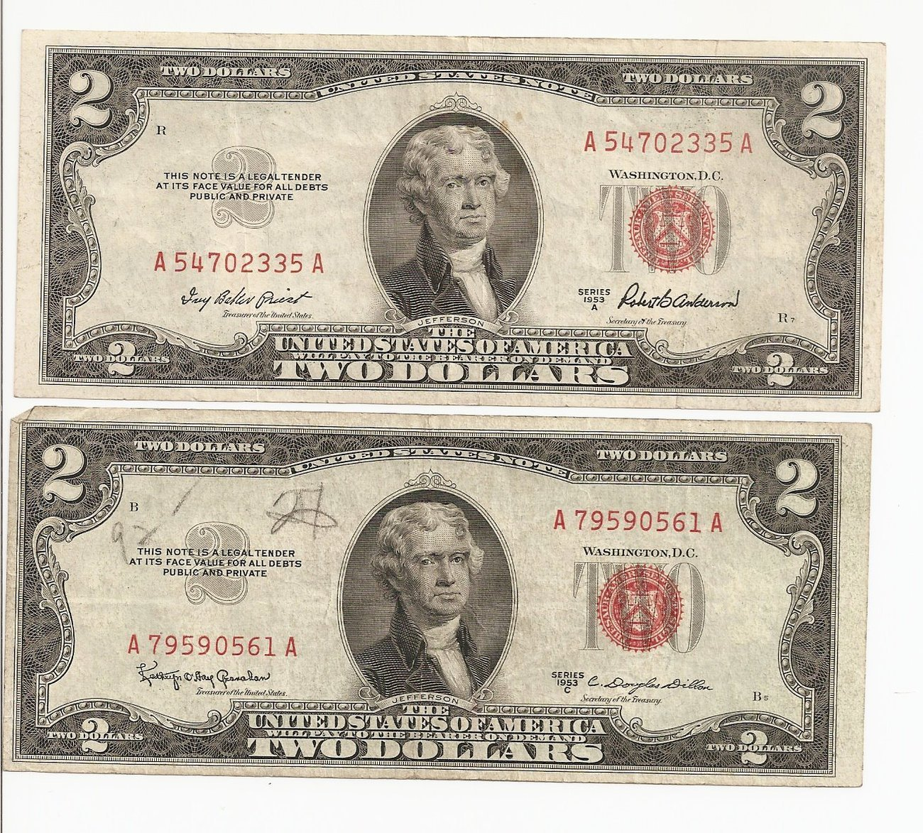 1953 $2 Dollar Bills 2 Series A & C US Note Red Seal