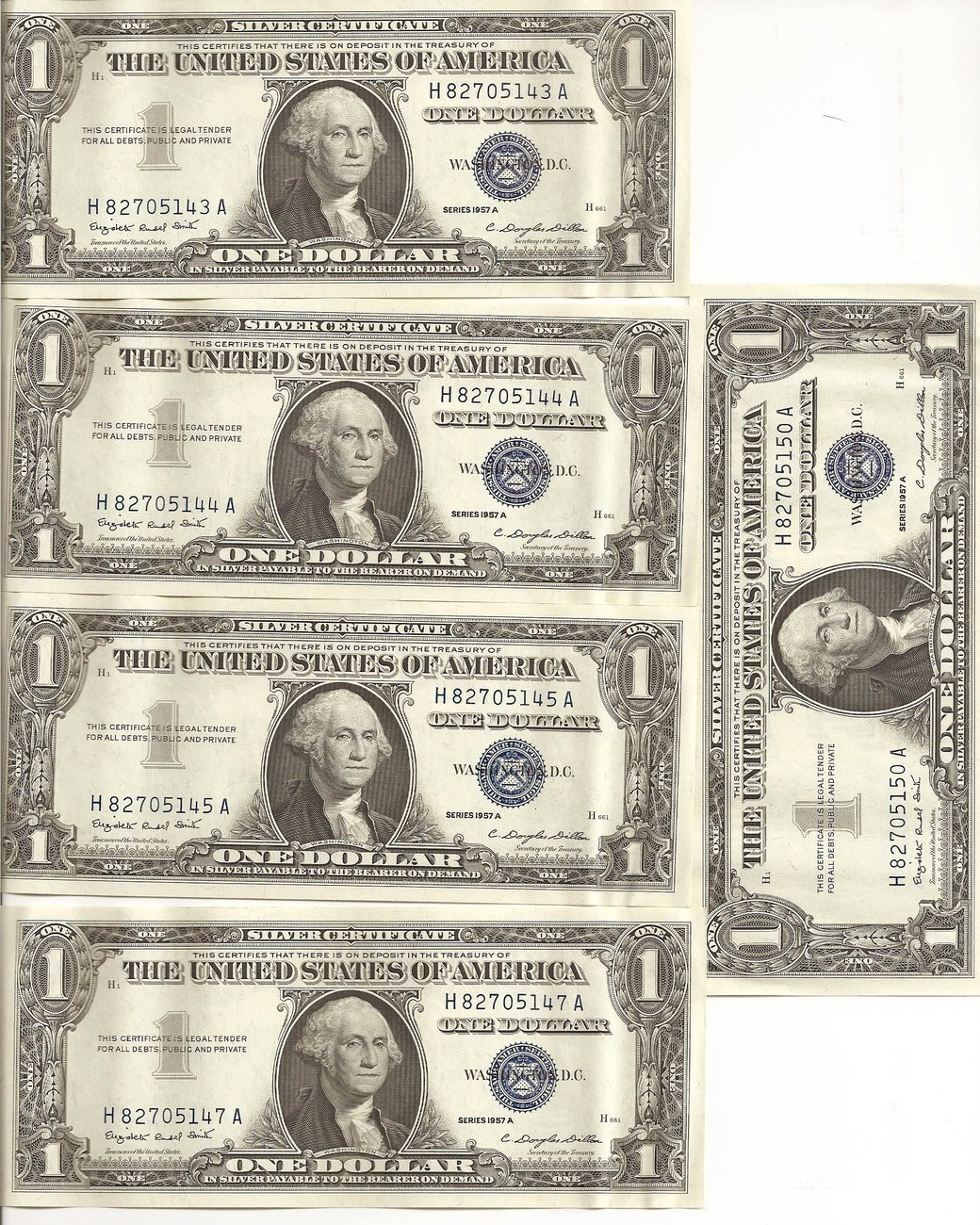 5 1957 A $1 Dollar Bills Silver Certificate Blue Seal Unc