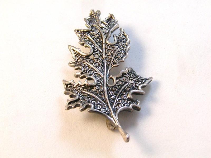 Vintage Beau Sterling Silver Leaf Leaves Brooch - a