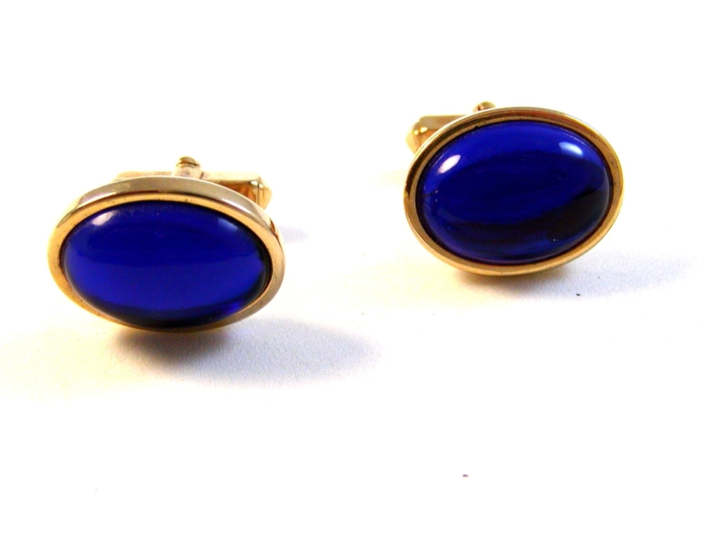 Vintage 1950's - 70's Gold Tone Sparkly Blue Stone Anson Cufflinks