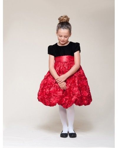 Image 3 of Dressy Velvet Top Swirl Floral Red Skirt Pageant Flower Girl Dress Crayon Kids -