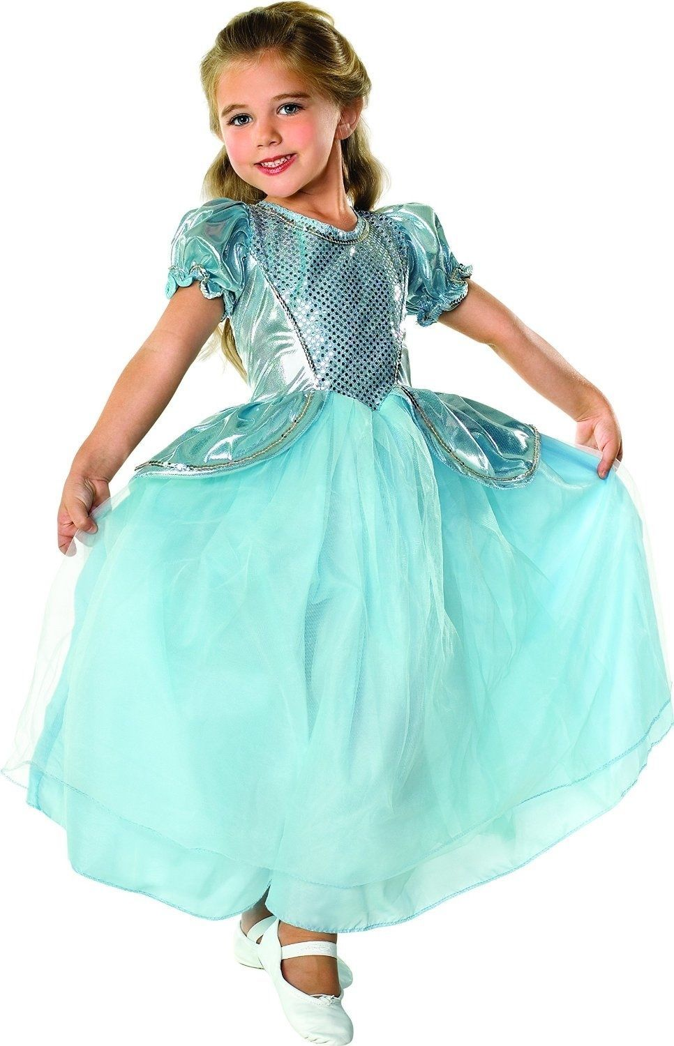 Image 3 of Beautiful Cinderella Palace Princess Aqua Ball Gown Polyester Costume, Rubies -