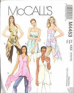New 2000s Flutter Top Tunic Halter McCalls 4453 Bust 30 32 Sewing Pattern McCall's
