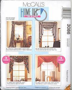 New Swag Jabot Valence Curtains Drapes Sewing McCalls 3086 Pattern McCall's
