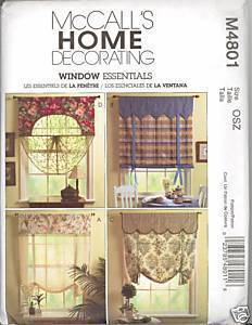 New Window Essentials Treatments Drapes Curtains McCalls 4801 Pattern McCall's