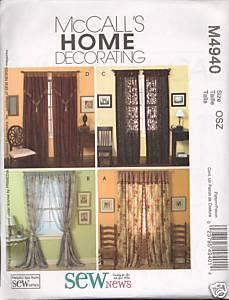 New Sew News Window Treatments Drapes Curtain McCalls 4940 Pattern McCall's