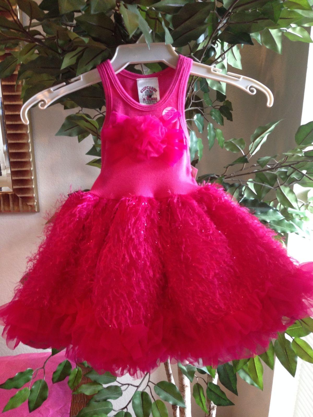 Image 2 of Posh Sparkly Fuchsia Eyelash Chiffon Pink Tutu Dress, 6M-5/6 USA Cupcakes Kisses