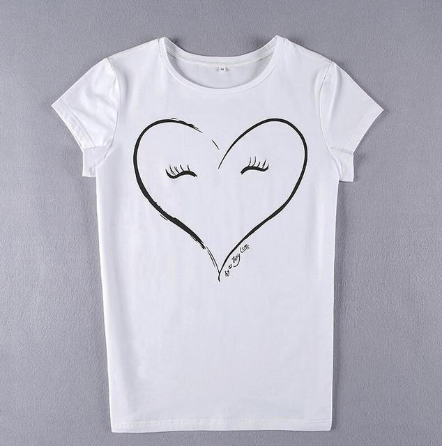 2017 95% Cotton well tough Character Smiling Face Heart Printing T Shirt Women S - White - S