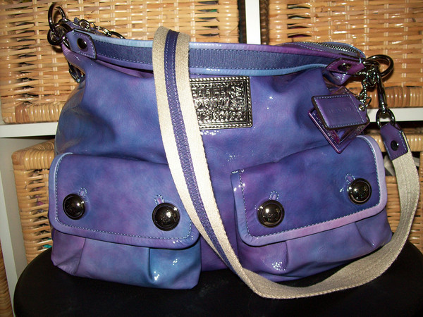 Coach Poppy Pocket Hobo Violet Ombre 14567 EUC HTF T