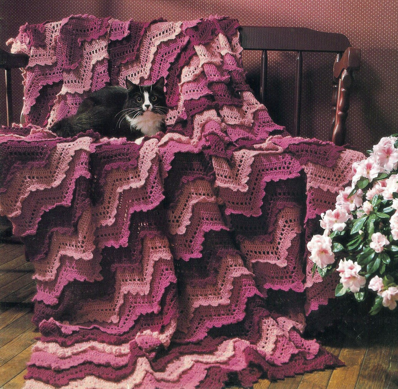 Victorian Ruffled Ripple Afghan Crochet Pattern Unique