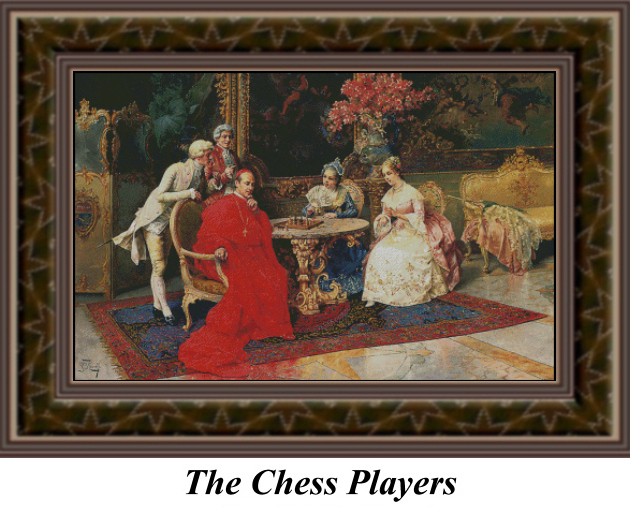 The Chess Players, Cross Stitch Pattern