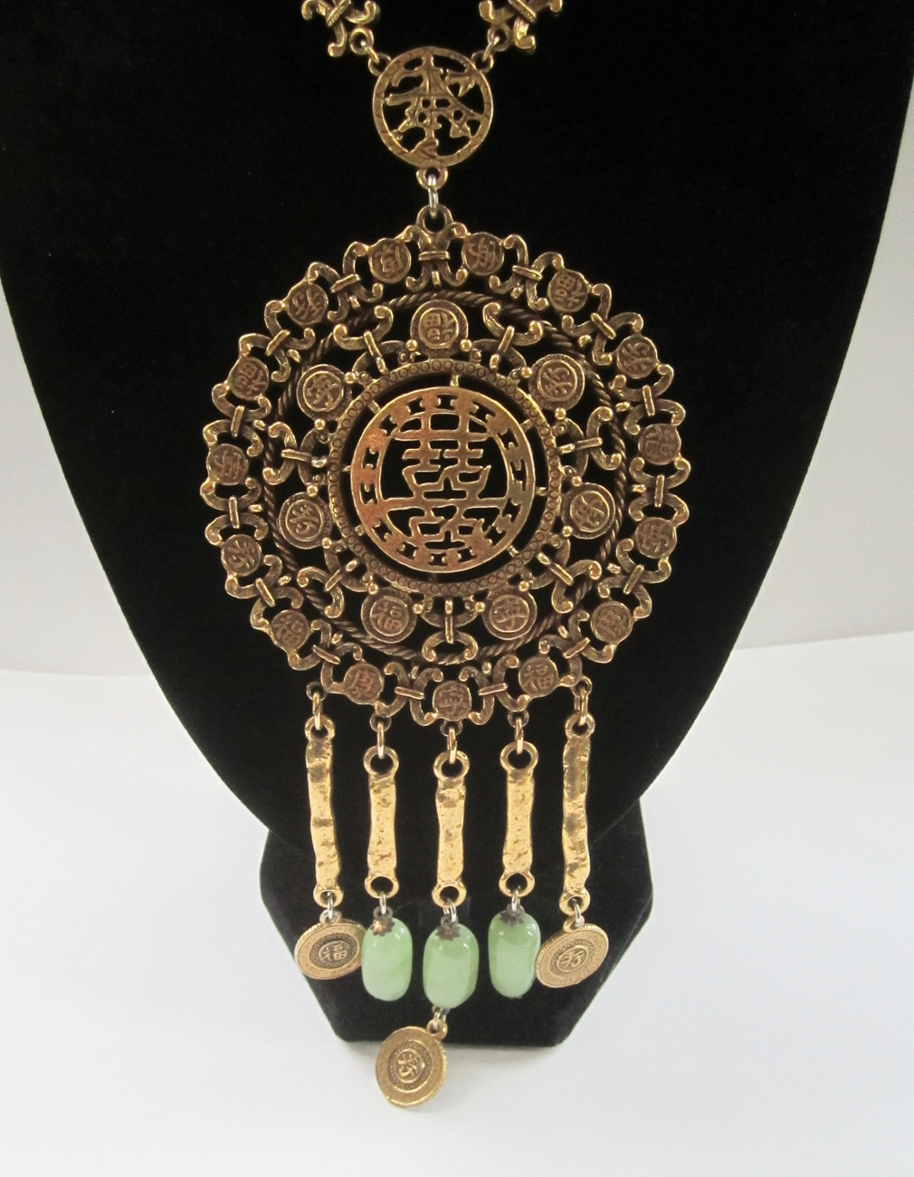 Goldette Runway Style Asian Themed Pendant Necklace. c. 1960s.