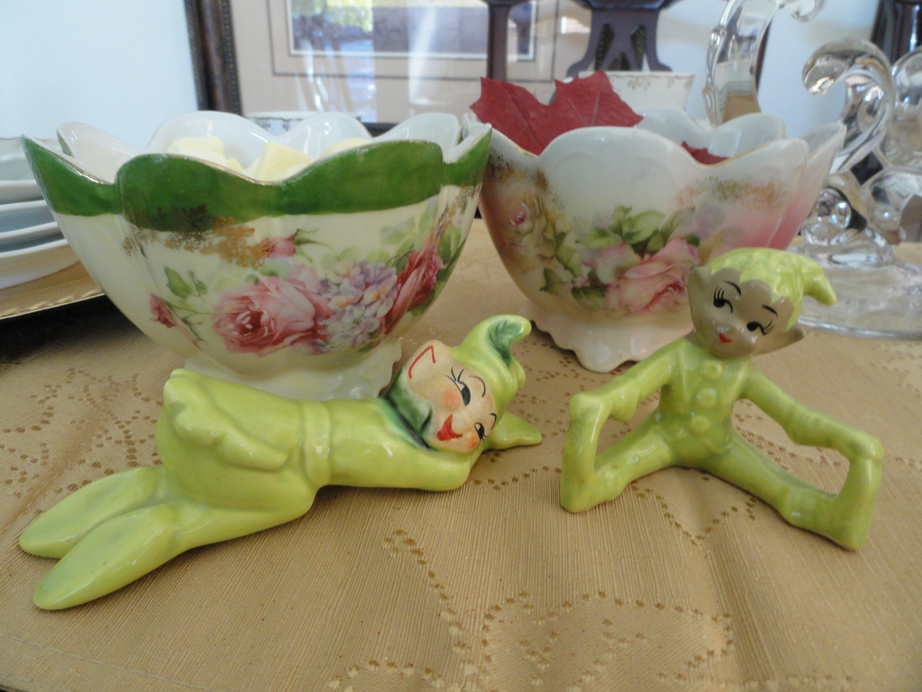Pair of Lime Green Mid-Century Pixie Figurines - One Kippie, One Unmarked