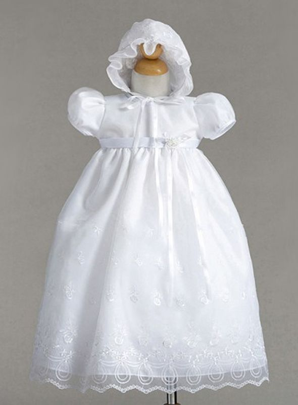 Image 1 of Gorgeous Lace Baby Girl Christening Dress Hat Set, Crayon Kids USA - White - Pol