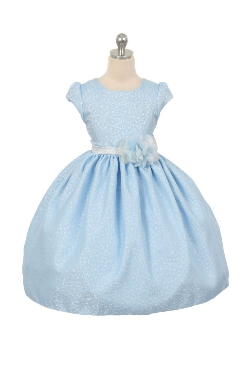 Image 2 of Chic Baby Light Blue/White Tea Length Pageant Party Holiday Dress, 2, 4, 6 USA -